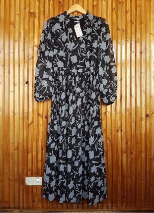 Шикарное плиссированное шифоновое платье миди reserved в цветочный принт.