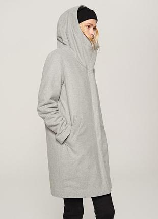 Скидка! xs-xl пальто теплое серое с капюшоном подкладка мягкое стильное  деми зима осень
