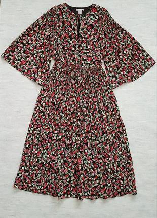 Красивое шифоновое плиссированное летнее платье миди h&m в цветочный принт.