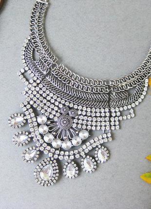Этно-колье , ожерелье, украшение, бижутерия металлическое массивное, цвет серебро