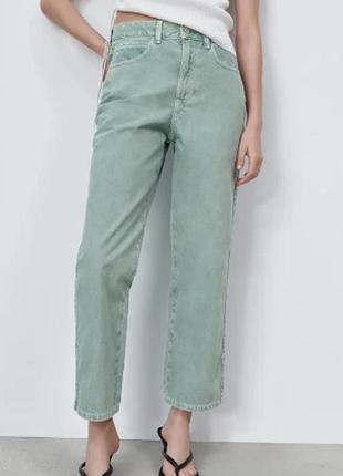 Jeans z1975 high rise straight джинсы zara р.36