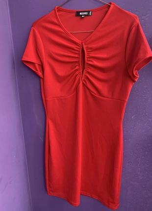 Платье трикотажное красное 14 размер