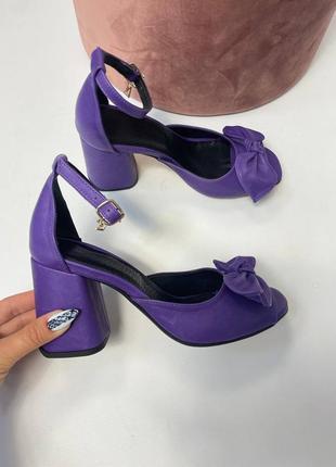 Эксклюзивные босоножки женские натуральная итальянская кожа и замша люкс фиолетовые с бантиком