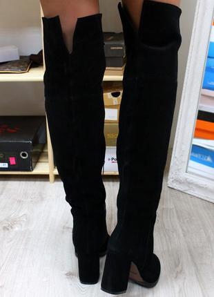 Зимние натуральные замшевые сапоги ботфорты на каблуке(36-40)