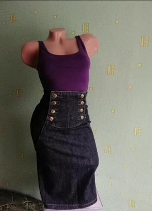 Джинсовая юбка миди only. юбка с завышенной талией. спідниця.