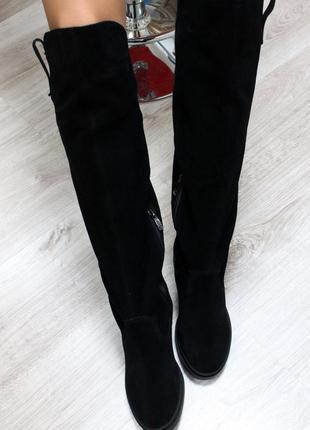 Зимние натуральные замшевые сапоги-ботфорты (36-40)