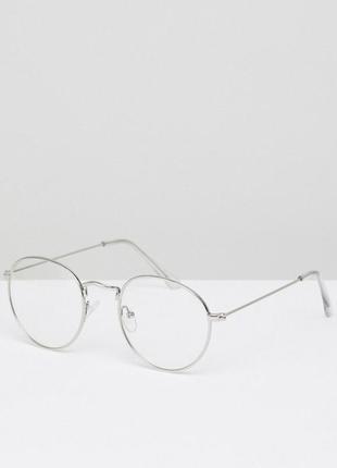 Круглые очки в серебристой металлической оправе с прозрачными стеклами asos design