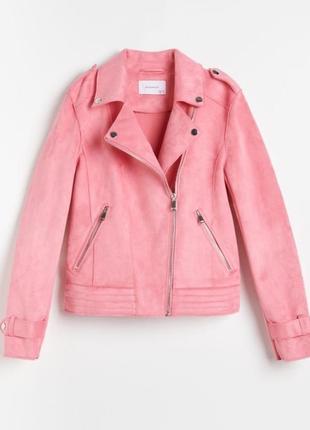 Розовая косуха из эко замши от reserved, размер s-l