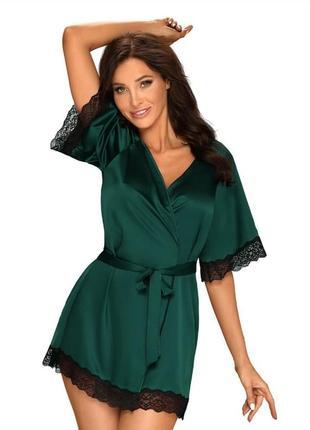 Атласный пеньюар obsessive sensuelia peignoir зеленый/черный