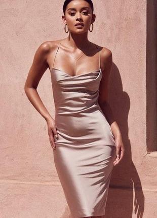 Платье миди zara искусственный шёлк тренд 2021
