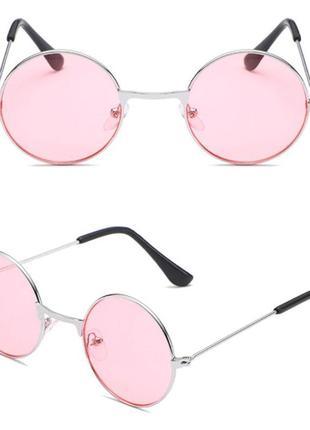 Круглые детские очки от солнца с серебристой оправой и розовой линзой