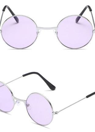 Круглые детские очки от солнца с серебристой оправой и сиреневой линзой