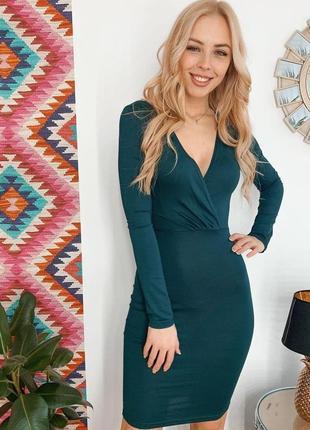 New! изумрудное платье трикотажное платье-футляр с вырезом vovk (xxs)