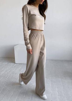 Женский спортивный костюм на осень светлый оверсайз штаны топ кофта джоггеры худи свободный широкий