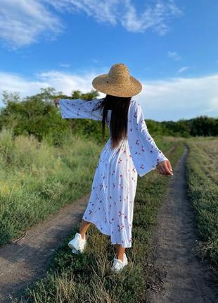 Платье штапель в принт с рукавом