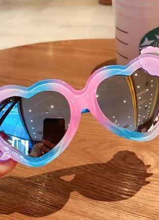 Радужные желейные детские солнцезащитные очки-сердечки с зеркальной линзой