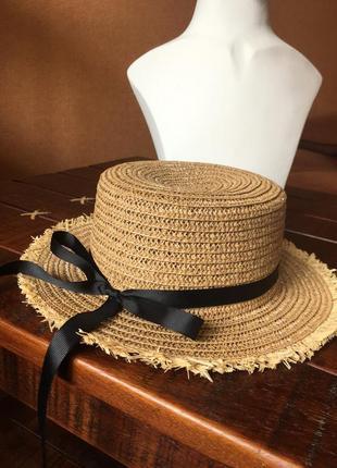 Шляпа канотье пляжная соломенная с бахромой