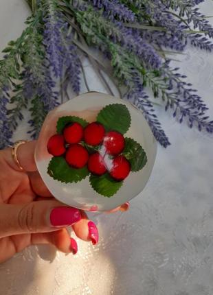 Шиповник крышка от шкатулки ссср советская декоративная огрстекло плексиглас ягоды