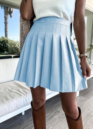Юбка женская мини короткая классическая трапеция школьная со складками голубая