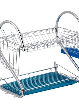 Стойка для хранения посуды с поддоном 405х555х290 мм. сушилка для посуды