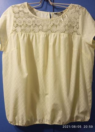 Красивая нежная блузка с хлопковым кружевом большого размера