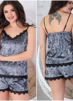 Пижама женская комплект шорты майка велюровый костюм домашний