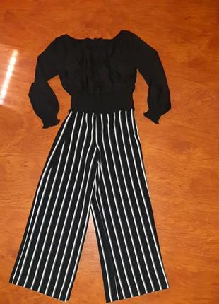 Блузка черная палаццо черно-белая полоска