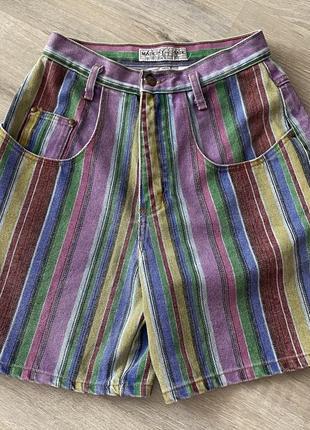 Винтажные джинсовые шорты .очень стильные в полоску