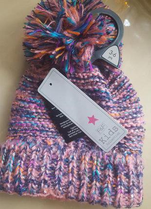 Яркая зимняя шапка с помпоном  на 1-2 года