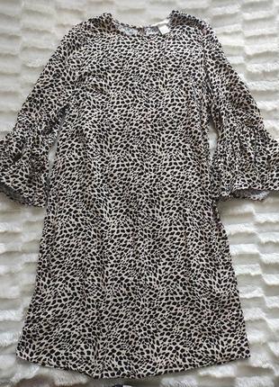 Платье свободного кроя леопард анималистический принт