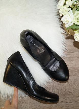 (38р./25см) 5th avenue! кожа! базовые туфли на удобной танкетке