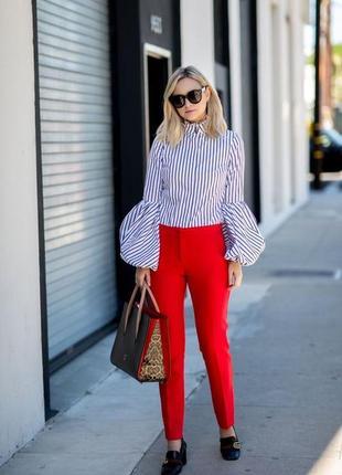 Брюки с высокой посадкой красные штаны завышенные текстурные прямые