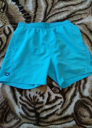 Детские  бирюзовые плавательные шорты,плавки  arena