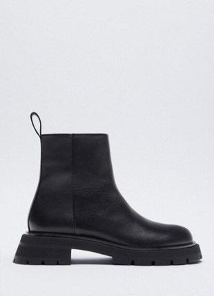 Кожаные ботинки на рифленой платформе zara оригинал р.38
