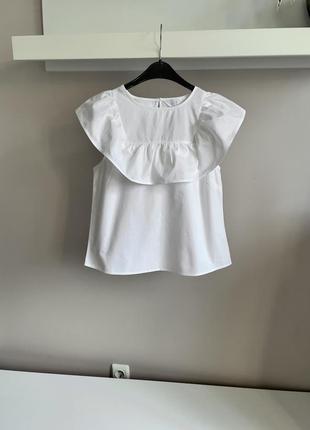 Хлопковая блуза с воланом