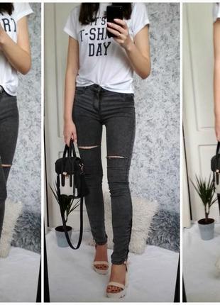 ffdeb2bf7a6 Серые джинсы скинни   варенки с дырками   с молниями на щиколотке   высокая  посадка1 фото ...