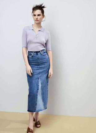 Трикотажное лавандовое поло футболка блузка лиоцел zara