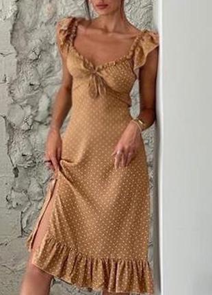Распродажа платье prettylittlething миди горох горошек milkmaid asos