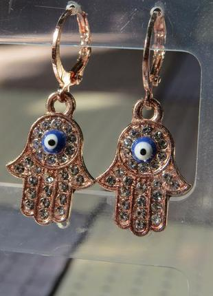 Нежные серьги от сглаза рука фатимы хамса в прозрачных камнях