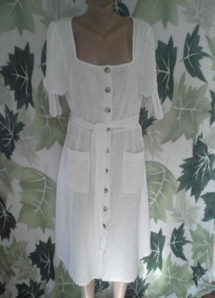Платье-халат-сарафан халат платье миди хлопковое хлопок белое белоснежка на пуговицах с карманами