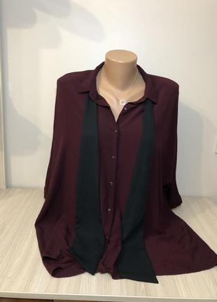 Бордовая вискозная блуза оверсайз с бантом прямого кроя