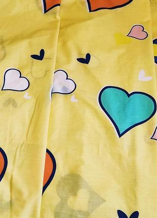 Простыни из пакистанской бязи gold - сердечки на желтом, расцветки, все размеры, быстрая отправка