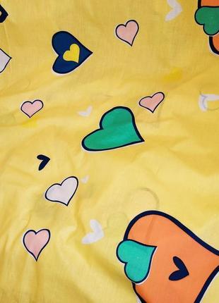 Простыни на резинке из плотной пакистанской бязи gold - сердечки на желтом, все размеры