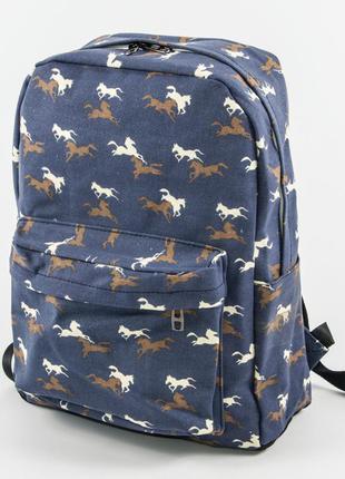Рюкзак для школьный/городской лошадки - синий - 1021