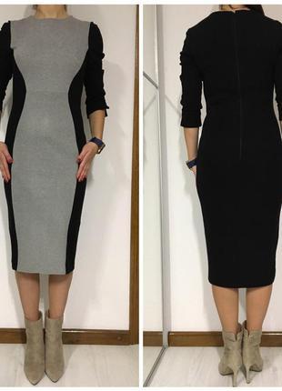 Британское брендовое трикотажное платье, футляр, миди, осень/зима