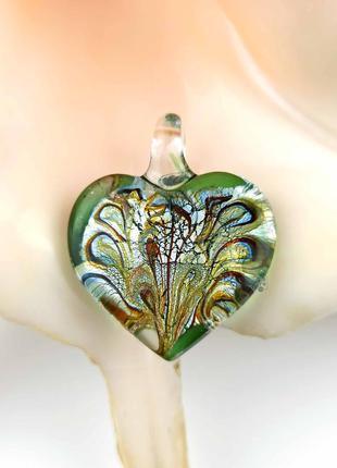 Кулон подвеска муранское стекло зеленый в форме сердце сердечко мурано новый качественный