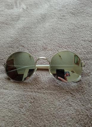 Очки солнцезащитные, круглые, зеркальные