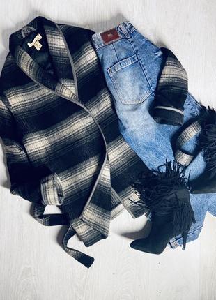 Шерстяное пальто рубашка в полоску