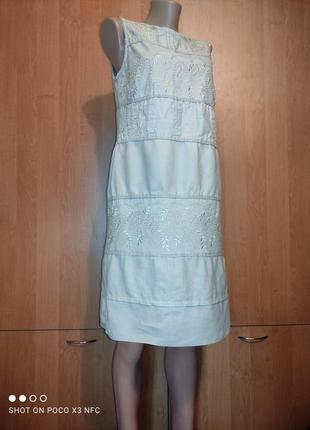 Красивенное льняное платье вышивка, лен пог-49