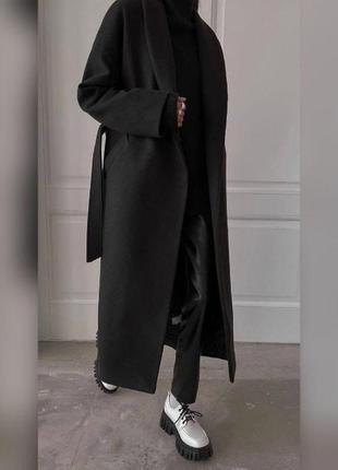 Пальто кашемировое в пол осенее черного цвета без подкладки в 3 расцветках